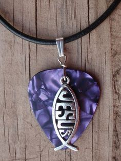 Leather Jesus Fish Guitar Pick Necklace - Your Choice of pink, blue, gold, red, green, purple, white, multi and turquoise colors.