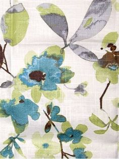"03367 Aqua Cloud - Vern Yip Fabric Collection - Up the roll watercolor floral fabric. Content; 55% Linen, 45% Cotton. Perfect for bedding, drapery or light use upholstery. Repeat H 27"" x V 25.25"". 30,000 double rubs. 54"" wide. Please note; 12 yard minimum."