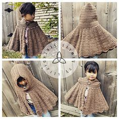 The pattern provides instructions on creating a Hooded Cape from child size 5 all the way up to adult size.
