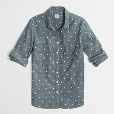 button-down shirt in printed chambray / j.crew factory