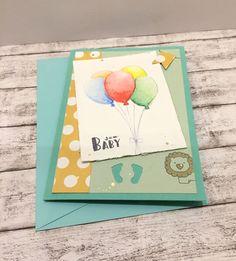 Glückwunschkarten - Babykarte bunte Luftballons  - ein Designerstück von POMMPLA bei DaWanda