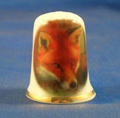 BIRCHCROFT PORCELAIN CHINA THIMBLE RED FOX.