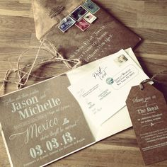 Loved designing these invitations for a destination wedding in Mexico: White silkscreen on Kraft paper!