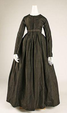 Dress  Date: ca. 1840 Culture: American Medium: silk Dimensions: Length at CB: 53 in. (134.6 cm)  The Met