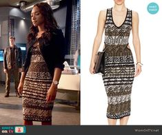 Iris's textured stripe dress on The Flash.  Outfit Details: http://wornontv.net/53571/ #TheFlash