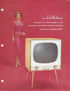 "There's just a peculiarity in this image that is hard to define...1956 ""The Hillsboro"" SYLVANIA Television Model 24T101 Dealer Sales Sheet 