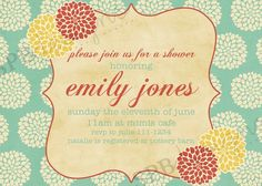 Baby Shower Invitation or Bridal Shower Invitation by sweetpeababy, $16.00
