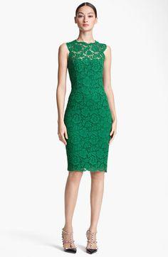 Valentino Lace Sheath Dress in Green