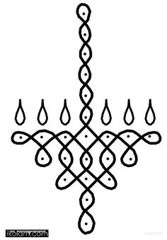 Just a simple hanging lamp which can be drawn in your pooja room on Karthigai Deepam or any festival for that matter. Indian Rangoli Designs, Simple Rangoli Designs Images, Rangoli Designs Flower, Rangoli Border Designs, Rangoli Patterns, Rangoli Ideas, Rangoli Designs With Dots, Beautiful Rangoli Designs, Rangoli With Dots