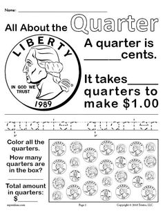 Learn all about the quarter, practice counting money, tracing skills and more. Great for kindergarten and first graders learning basic money skills. Get the free quarter worksheet and 3 other coin worksheets free here --> Money Worksheets, First Grade Worksheets, School Worksheets, 1st Grade Math, Kindergarten Worksheets, Free Worksheets, Summer Worksheets, Grade 2, Printable Worksheets