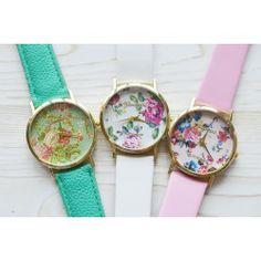 Reloj geneva con estampado de flores