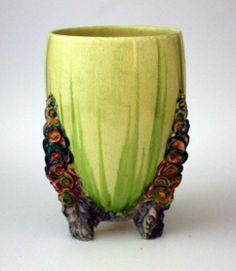 Clarice Cliff 'Bizarre' vase. 'My Garden' design. Green body…