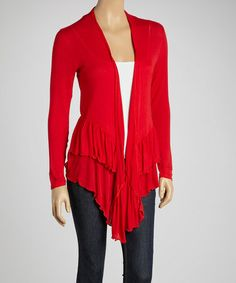 Take a look at this Red Ruffle Open Cardigan by Chic Separates: Women's Apparel on @zulily today!