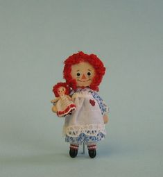 Miniature 1/4 and 1 scales Raggedy Ann doll by PamelaJunksMinis, $31.00