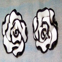 """Classic elegance in these black and white floral, flower stud earrings -- For Sale @ """"World Of Whimsy"""" Group: https://www.facebook.com/groups/WorldOfWhimsy"""