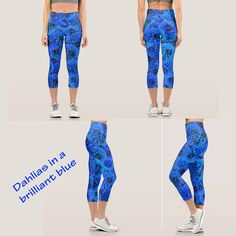 Beautiful floral design for sports, leisure, relaxation! #zazzlemade #leggings #floralleggings #sports #apparel #blue #bluedahlias #floralart #MarionsArtwork
