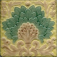 Minton Hollins crisply moulded tile decorated in delicate colors in the Arts and Crafts style. ~ Or Some may say Art Nouveau style! Antique Tiles, Vintage Tile, Antique Art, Azulejos Art Nouveau, Art Nouveau Tiles, Craftsman Tile, Design Art Nouveau, Style Tile, Decorative Tile