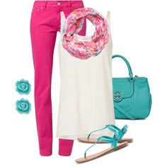 I'd might be brave enough to try hot pink pants, but still I like it, lol  (turquoise & pink)