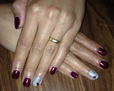 Ruby red and sliver sparkle shellac nails
