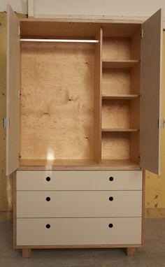 Freestanding Wardrobe made in Birch plywood | Make Furniture