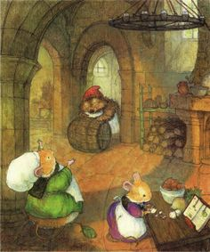 Click through for a link list to recipes inspired by the Redwall series by Brian Jacques.  (Artwork by Christopher Denise from The Redwall Cookbook)