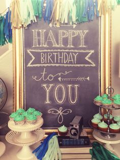 Mint green, emerald, royal blue and gold party: Happy birthday chalkboard sign. With different colors. Chalkboard Writing, Chalkboard Fonts, Chalkboard Designs, Chalkboard Ideas, Chalkboard Doodles, Chalk It Up, Chalk Art, Birthday Wishes, Birthday Parties