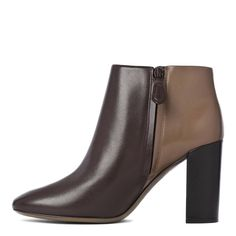 #ToryBurch Dark Brown/Mushroom Leather Ankle Boots Heel 8cm -