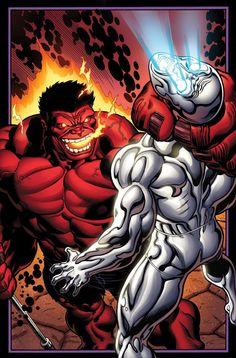 Red Hulk and Silver Surfer Marvel Comics Art, Marvel Comic Books, Comic Book Characters, Comic Book Heroes, Marvel Characters, Marvel Heroes, Red Hulk Marvel, Univers Marvel, Silver Surfer