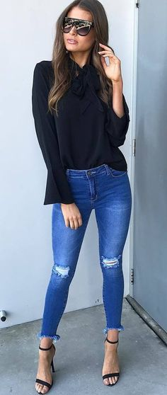 black and denim_blouse + ripped jeans + heels