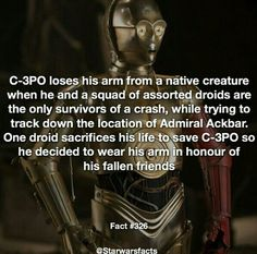 Here's why had a red arm in the force awakens! It's only to honour them for a while then he replaced the arm. by starwarsfacts_ Star Wars Love, Star Trek, Star Wars Facts, Star Wars Quotes, Star Wars Droids, The Force Is Strong, Last Jedi, Love Stars, Clone Wars