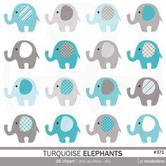 Clipart de elefantes turquesa turquoise elephants por eltendedero
