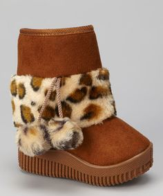 Take a look at this Light Coffee Leopard Faux Fur Boot by Diamond Footwear on #zulily today!
