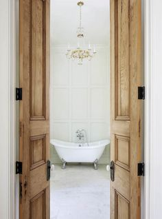 Traditional bathroom 767230486496385163 - Reclaimed Interior Doors – made from old growth cypress – Tailored Family Home with Neutral Interiors Source by mailleteugenie Graphisches Design, Door Design, House Design, Design Ideas, Narrow French Doors, French Closet Doors, Wood Closet Doors, Antique French Doors, French Doors Bedroom