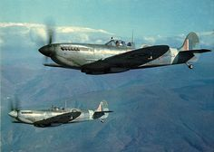 Two spitfires of 241 Sqn. on patrol over the mount Vesuvius area on Jan. 27th, 1944.