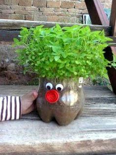 20 Easy Summer Crafts for Kids - FaveCrafts - Modern Design Plastic Bottle Planter, Plastic Bottle Crafts, Recycle Plastic Bottles, Kids Crafts, Summer Crafts For Kids, Chia Pet, Garden Crafts, Garden Projects, Diy Projects