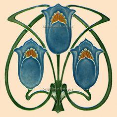 Ceramic Tile 6 inch square  Vintage Art Nouveau by SublimeTiles, $12.95