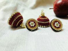 Silk Thread Earrings Designs, Silk Thread Necklace, Silk Thread Bangles, Thread Jewellery, Silk Thread Jumkas, Custom Jewelry, Handmade Jewelry, Antique Jewellery Designs, Quilling Earrings