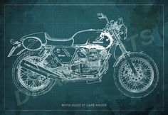 Moto Guzzi Cafe Racer Blueprint, Art Print 12x8 to 60x41 in, Motorcycle Art print