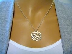 Rose Necklace Sterling Silver Necklace  Pendant  by FemmartJewelry
