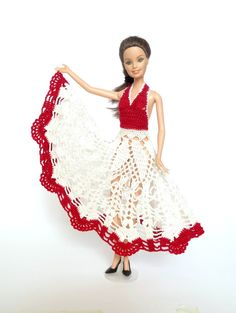 Barbie doll dress in red and white  by RianasBarbieCloset on Etsy