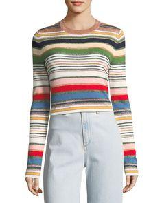 Veronica Beard Palmas Metallic Striped Sweater