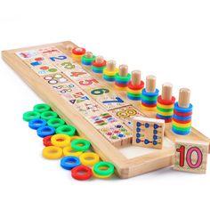 Free Shipping!Baby Toys Montessori Educational Wooden Toys  Teaching Logarithm Version Kids  Wooden Blocks Toys Gift 1pc