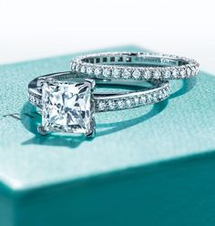 One of our engagement icons, Tiffany Grace® highlights the perfect symmetry of a princess-cut diamond. #princesscutring