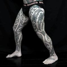 30 tribal thigh tattoos for men - manly ink ideas Thigh Sleeve Tattoo, Thigh Tattoo Men, Thigh Tattoo Designs, Tribal Tattoo Designs, Tattoo Designs For Women, Sleeve Tattoos, Tribal Tattoos For Men, Tattoos For Guys, Maori Tattoos