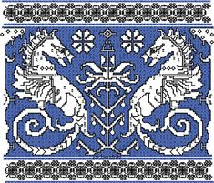 Assisi Embroidery Designs | Assisi embroidery design seahorses