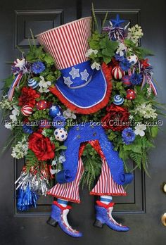 4th of July Wreath-Petals & Plumes Hat n' Boots Collection 2010©