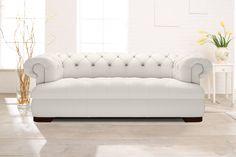 Chesterfield Sofa in elegantem Weiß: Modell Loxley. www.kippax-sofas.de/kippax-chesterfields.htm
