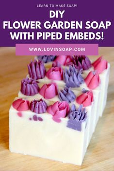Click to get the step-by-step DIY cold process soap recipe + tutorial + link to create the handmade piped embeds! Base Oils Coconut Oil (76 deg) – 300 grams (30%) Cocoa Butter – 150 grams (15%) Olive Oil – 400 grams (40%) Avocado Oil – 100 grams (10%) Castor Oil – 50 grams (5%) Lye Solution (5% superfat) Water – 284 grams Sodium Hydroxide – 142 grams Additives Lavender Essential Oil – 20 grams Geranium Essential Oil – 10 grams Mica – I just used a white mica to whiten up the base ~ 1 tablespoon Geranium Essential Oil, Natural Essential Oils, Shea Butter Soap, Cocoa Butter, Diy Pipe, Sodium Hydroxide, Goat Milk Soap, Cold Process Soap, Soap Recipes