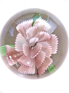 "Vintage Art Glass Paperweight Pink Carnation Flower 2"" tall Clear Glass $24.50 #None"