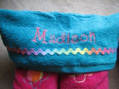 Rainbow Flower Personalized  Full Size Hooded by NandTEmbroidery, $25.00